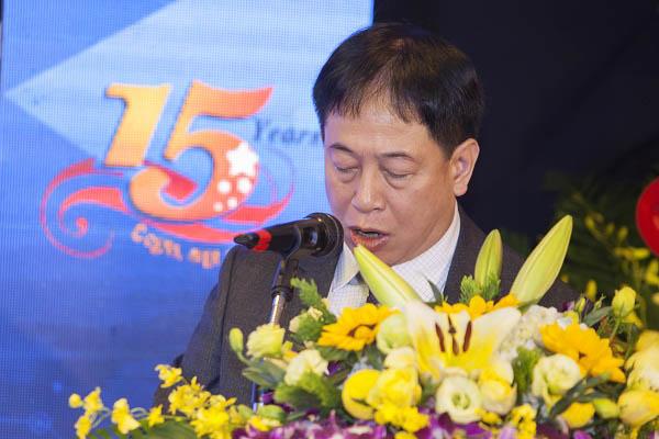 Ông Trần Quốc Huy - Chủ tịch hội đồng quản trị kiêm TGĐ công ty phát biểu